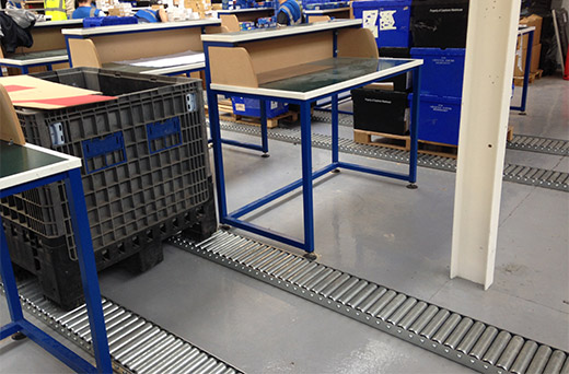 Pallet Roller Tracks with Packing Benches